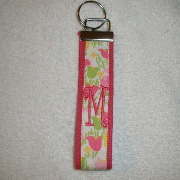 Lilly Pulitzer Monogrammed KeyFob Keychain Wristlet Hot Pink with Tulips