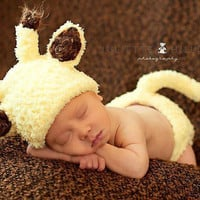Fuzzy Yellow and Brown Baby Giraffe Hat and Diaper Cover with Tail  - Cute Photography Prop Outfit or Baby Shower Gift