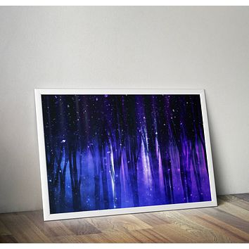 Reiki Charged Purple Trees Tapestry Blue Distressed Art Yoga Grunge Hippie Poster Design no frame 20x30 Large