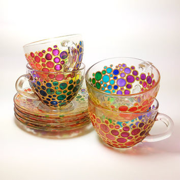 Set of 4 Tea Cups and Saucers, Sun catcher cups and saucers set, Hand Painted Multi Coloured Bubbles Glass Teacup Set