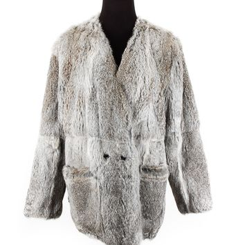 Maje Grey Rabbit Fur Jacket