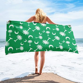 South Carolina Palmetto Moon Beach Towel GREEN