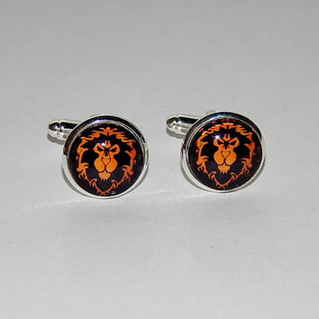 World of Warcraft Alliance logo cufflinks, WOW Alliance symbol, WOW emblem, WOW video game, wow patch, men jewelry, lion art print cufflinks