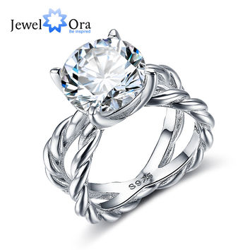 Hemp Rope Shape 12mm 6.5 CT Hearts And Arrows Cubic Zirconia 925 Sterling Silver Engagement Rings For Women (JewelOra RI102326)