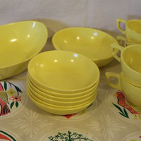 Vintage Yellow Plastic Melmac Dishes, Stetson Dinnerware, 14 Piece Set, Retro Dishes, Vintage Dishes, Yellow Kitchen, Camper Dishes