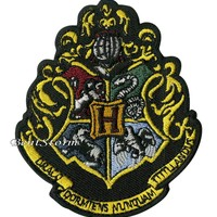 "Licensed cool Harry Potter Hogwarts School Crest Embroidered IRON ON Patch Badge 3 1/4""x2 3/4"""