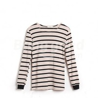Korea Women's Slim Fit Round Neck Long Sleeve Casual Stripe T-Shirt Free Shipping!  - US$9.33