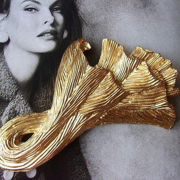 GIVENCHY Gold Tone Abstract Brooch, Textured Modern Large, Vintage