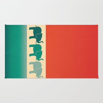 Three Elephants - Burnt orange, cream & teal Area & Throw Rug by Perrin Le Feuvre | Society6
