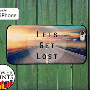 Let's Get Lost Sunset Road Travel Cute Wander Accessory For Rubber iPhone 4 and 4s and iPhone 5 and 5s and 5c and iPhone 6 and 6 Plus +