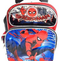 """2017 Marvel Spiderman """" HOMECOMING"""" 12"""" Small Toddler """" Rolling/Roller Backpack"""