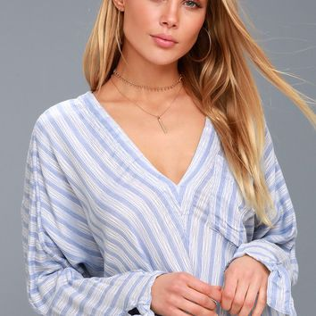 Morning Solid Blue and White Striped Long Sleeve Top