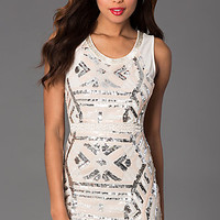 Short Sleeveless Scoop Neck Dress with Sequin Detailing