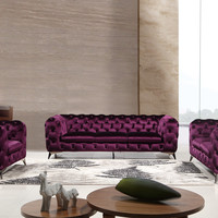 Divani Casa Delilah Modern Purple Velour Fabric Sofa Set