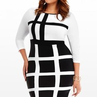 Plus Size contrast banding dress | Fashion To Figure