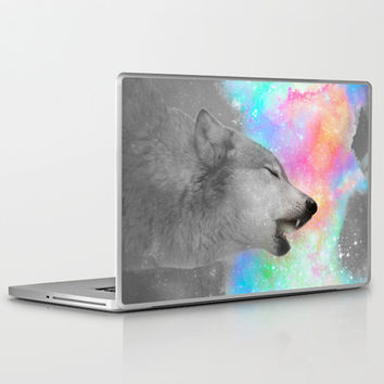 Breathing Dreams Like Air (Wolf Howl Abstract II: Grey) Laptop & iPad Skin by soaring anchor designs ⚓ | Society6
