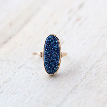 Long Oval Druzy Ring - Cobalt