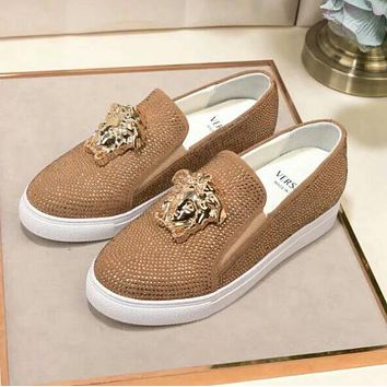"Hot Sale ""Versace"" Slip-On Popular Women Men Casual Leather Water Drill Flat Sneakers Sport Shoes Golden I13143-1"