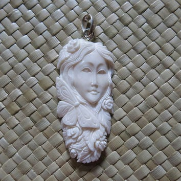 Butterfly, Rose Goddess Spirit Bone Pendant, Bali Bone Carving, unique handmade jewelry from Bali