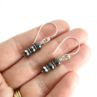 Faceted Hematite Sparkle Earrings Stacked Gemstone Earrings Sterling Silver Black Stone Earrings Faceted Sparkle Hematite Gemstone Earrings