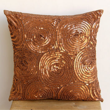 Decorative Throw Pillow Covers Accent Pillow Couch 16x16 Silk Pillow Cover Sequins Embroidered Copper Swirls Bedding Home Decor Housewares