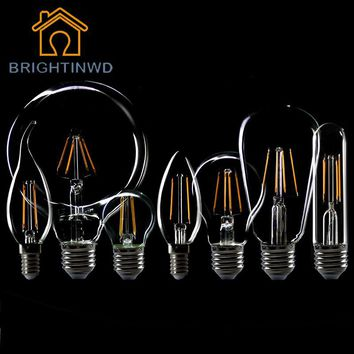 Retro LED Filament Light lamp E27 E14 2W 4W 6W AC 220V C35 C35L A60 G80 Clear Glass Shell Vintage Edison Led Bulb Energy Saving