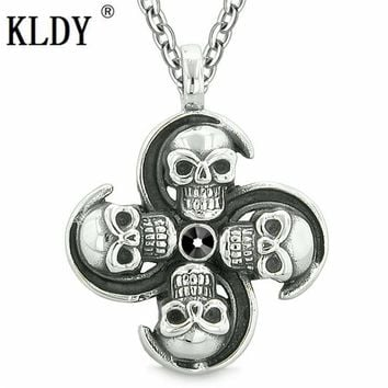 Supernatural Skull Pendant Powers Magic All Forces of Nature Amulet Jet Black Crystal Pendant Necklace Stainless Quality Jewelry