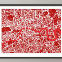 London England Street Map Art Print on Etsy
