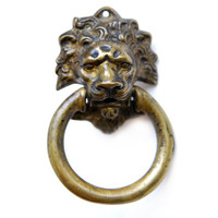 Vintage Antique Ornate Lion Head Drawer Pull, Cast Brass, E1147, Handle