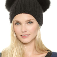 Black Pom Bobble Ears Beanie Hat