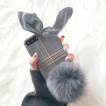 fashion lattice rabbit phone case
