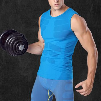 2017 Summer Casual Men Breathable quick dry muscle T-shirt warm thermal underwear High-Elastic tank thigh shaper undershirts