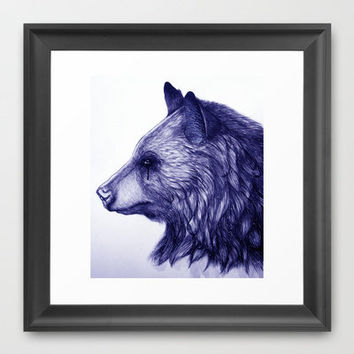 Grizzly Bear/blue Framed Art Print by beart24