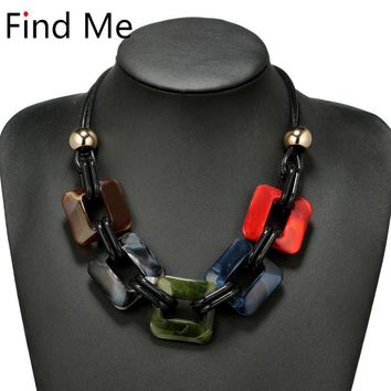 Find Me fashion power Leather cord statement necklace & pendants vintage weaving collar choker necklace for women Jewelry