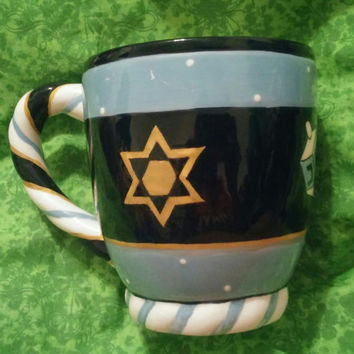 Jewish Hebrew Judaica Hanukkah Chanukah Ceramic Mug Designed by Wynter Rosen