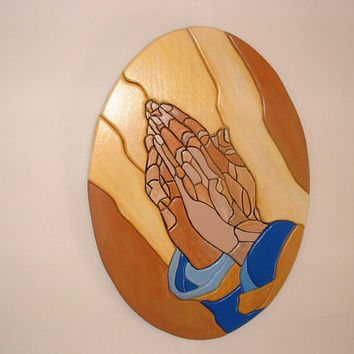 Home Decor, Wood sculptured Praying Hands, Religious