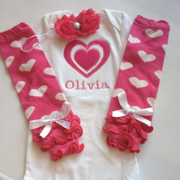Baby Girl Outfit - Valentines Day Outfit - baby valentines leg warmes - legwarmers - personalized baby girl outfit - photo prop