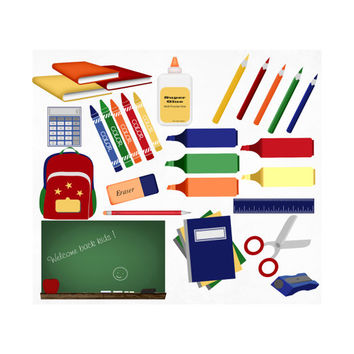 34 Digital Scrapbook Kit, School Supplies Clipart Clip Art, Chalkboard Calculator Ruler Colored Pencils Paint Crayons Books Pencil Glue