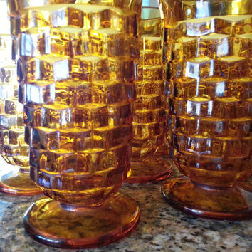 Vintage Indiana amber Glassware Colony Whitehall tall footed crystal tumblers clear glass block optic1960's mid century vintage kitchen