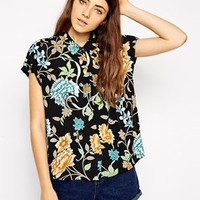 ASOS Grown on Sleeve Blouse in Vintage Floral Print at asos.com