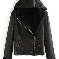 Fashion Hooded Suede Coat