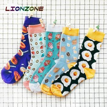 LIONZONE New Arrival Unisex Happy Socks Men&Women Art Abstraction Creative Foods Pattern Donut Cake Toast Poached Egg Socks
