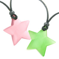 Super Star Amulets Love Couple or Best Friends Set Pink and Neon Green Cats Eye Crystal Pendant Necklaces