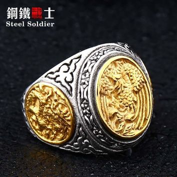 steel soldier dragon and phoenix stainless steel ring fashion ring men new arrival fashion and unqiue men jewelry