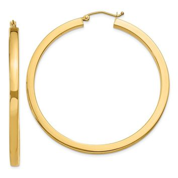 3mm, 14k Yellow Gold Square Tube Round Hoop Earrings, 50mm (1 7/8 In)