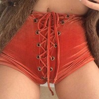 Edgy Fashion Crisscross Strappy Solid Tight Shorts