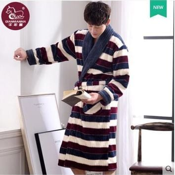 Winter Thicken Coral flannel Bath Robe Long sleeve Home bathrobe