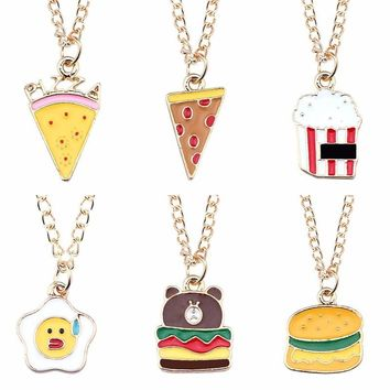 Trendy Food Pendant Pie Pizza Ice Cream Bear Cake Necklace Colorful Family Necklaces&Pendants DIY New Year Gift Dropshipping