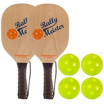 Rally Meister Pickleball Bundle - Two Wood Paddles/Four Jugs Balls