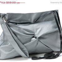 """Holiday Sale 15% silver clutch-A stylish feminine light weight vegan evening purse: """"Swing"""" -Made to order"""
